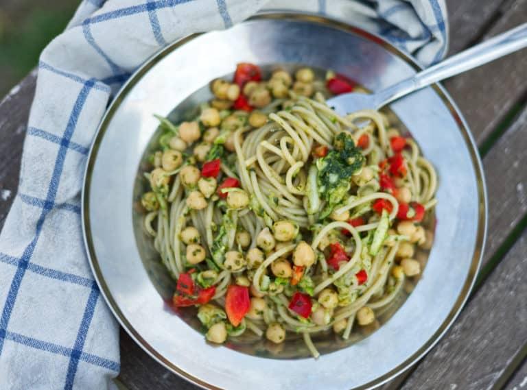 Rezept: Sommerliche Spagetti mit Pesto