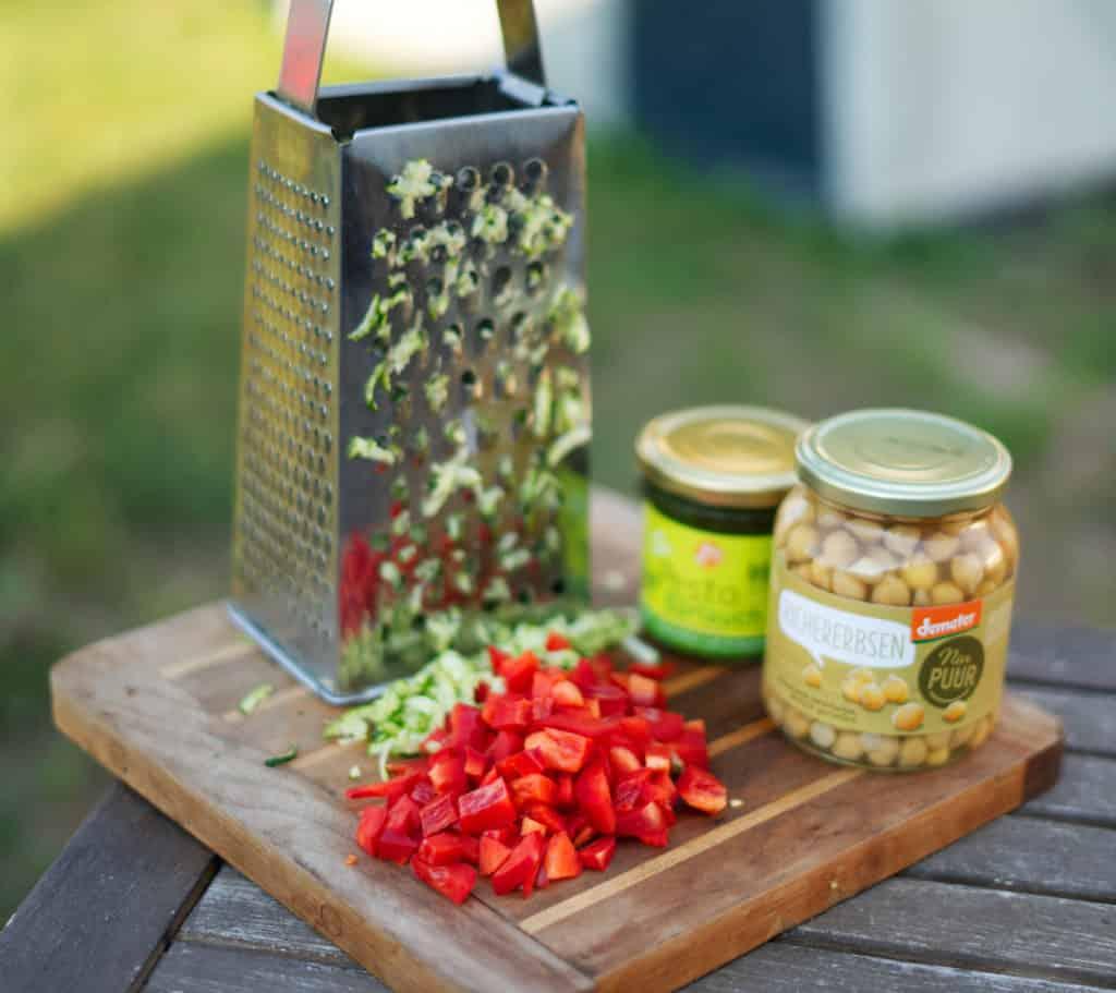 Zutaten für Spagetti mit Pesto